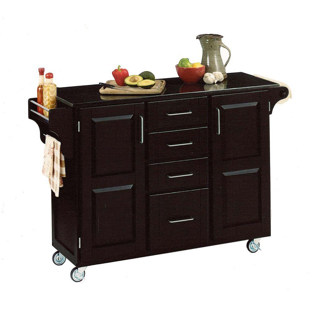 "Create A Cart Grand chariot de cuisine ""Create"" noir dessus granite noir"