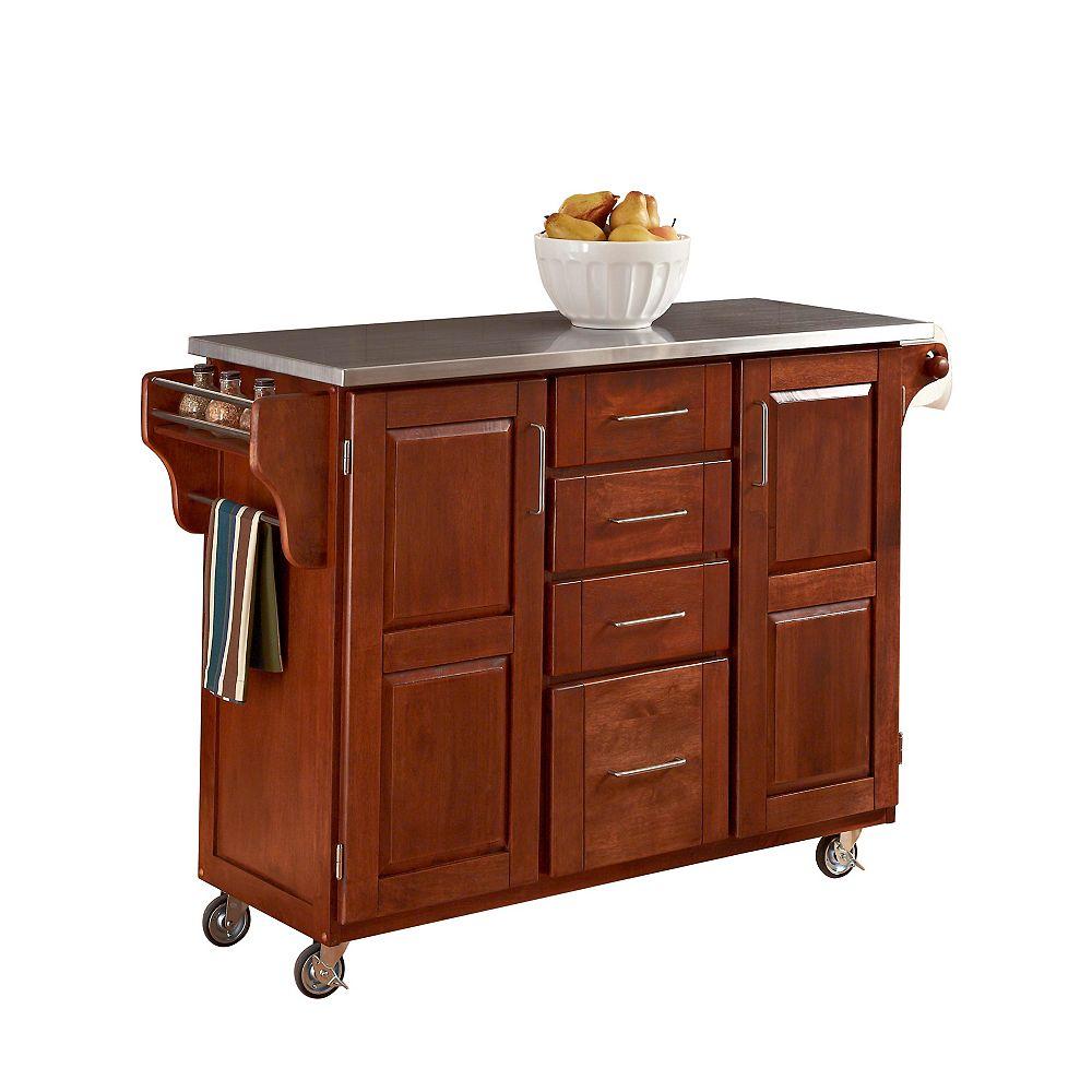 "Create A Cart Grand chariot de cuisine ""Create"" ""Cottage Oak"" dessus acier inoxydable"