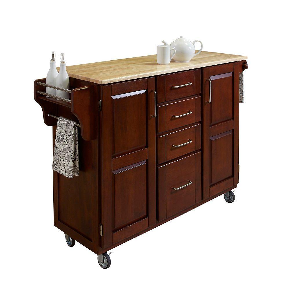 "Create A Cart Grand chariot de cuisine ""Create"" fini cerise dessus en bois"