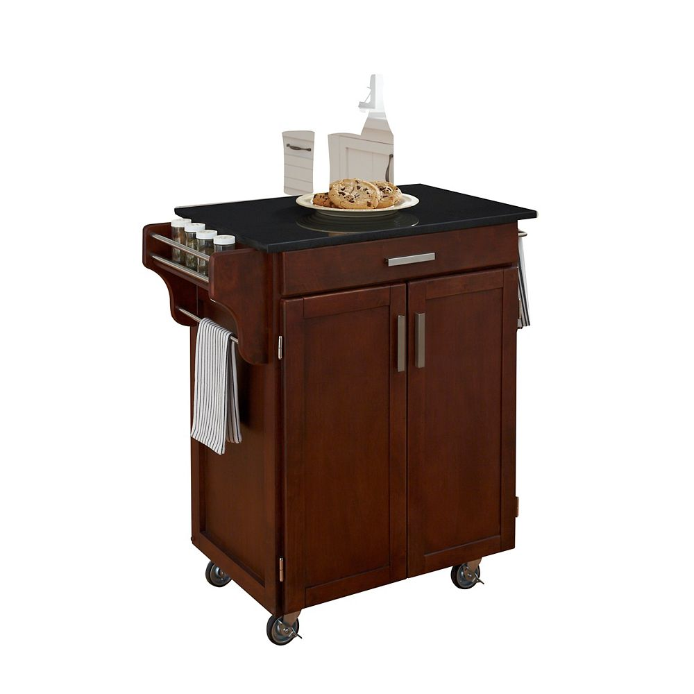 "Create A Cart Chariot de cuisine ""Create"" fini cerise dessus granite noir"