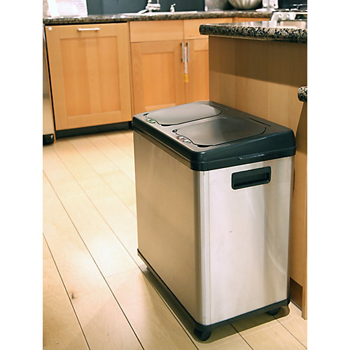 16 Gallon Dual-Compartment Stainless Steel Touchless Sensor Recycle Can