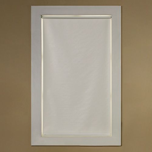 Cut to Size White Room Darkening Heavy Weight Vinyl Roller Shade, 37 inch x 66 inch