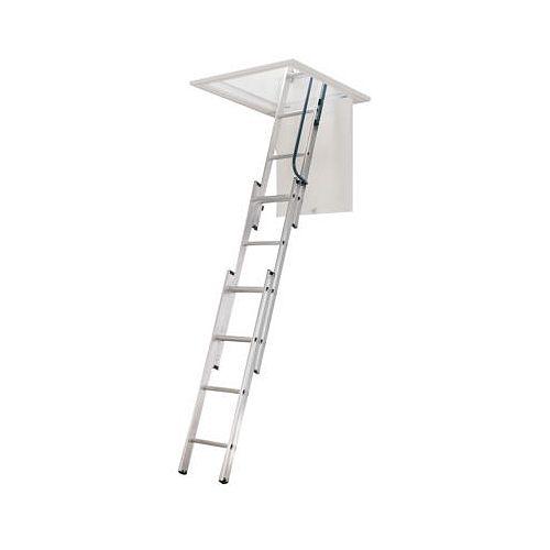18 inch W x 24 inch L min x 7 ft to 9 ft 10 Inch H Compact Attic Ladder