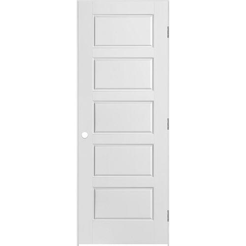 Porte intérieure apprêtée 5 panneaux égaux 30 pouces x 80 pouces
