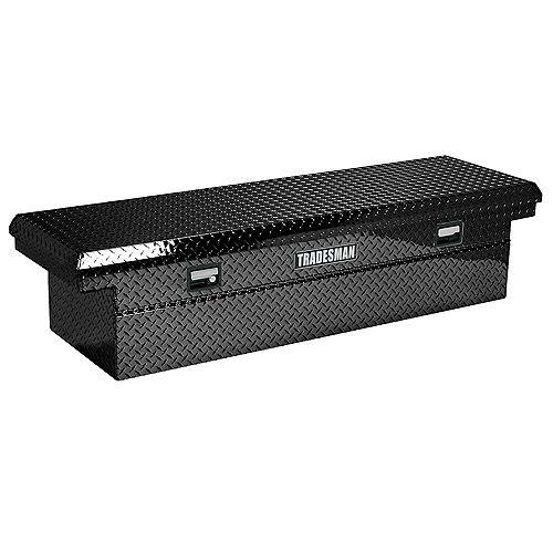 Boîte à outils transversale de 70 pouces, pleine longueur, couvercle simple, aluminium, profil surbaissé, noir