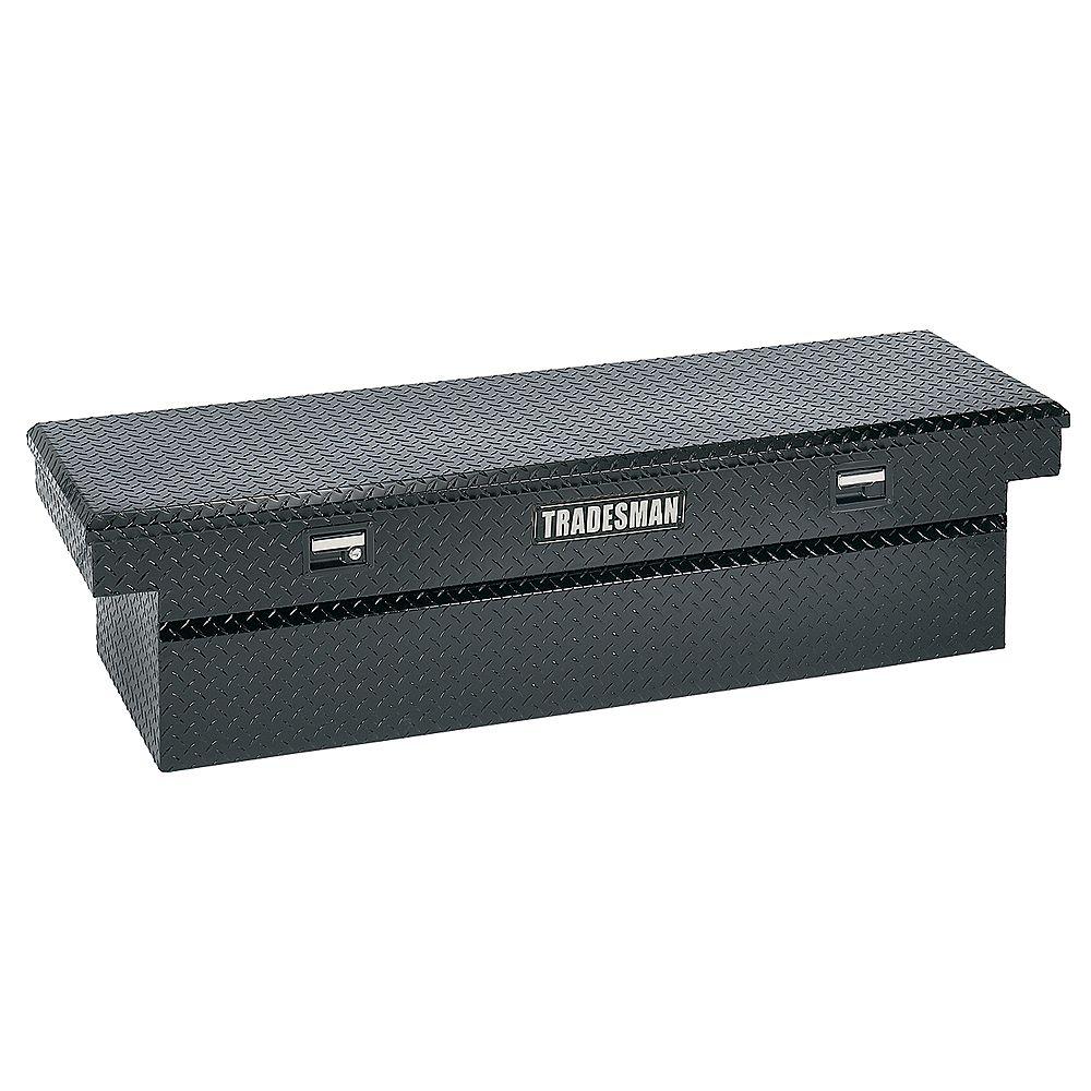 Tradesman Boîte à outils transversale de 71 pouces pour camionnette, pleine longueur, couvercle simple, gorge large, aluminium, noir