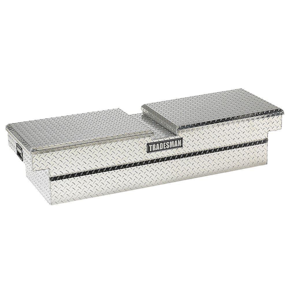 Tradesman Boîte à outils transversale de 60 pouces pour camionnette, caisse de intermédiaire de 16 pouces de largeur, aluminium (couvercle papillon)