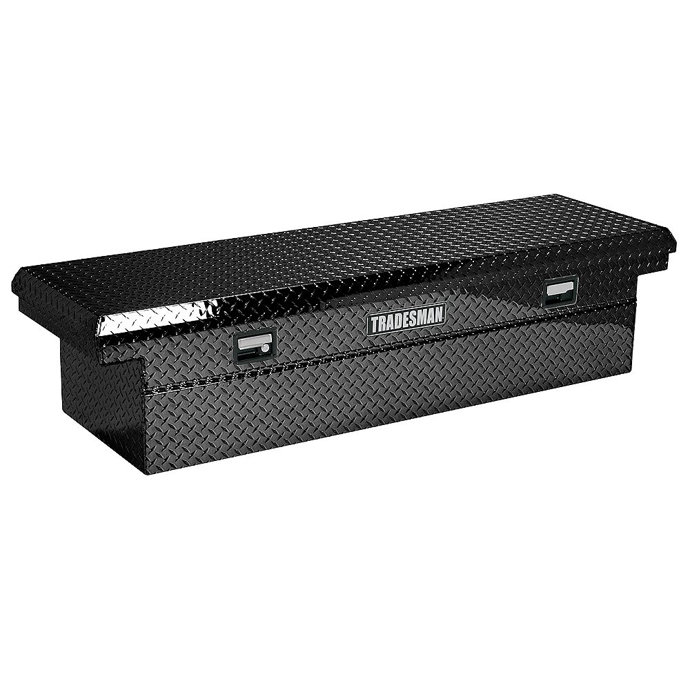 12-inch Low Profile Cross Bed Aluminum Truck Tool Box for Heavy-Duty Trucks  with Single Lid in Black