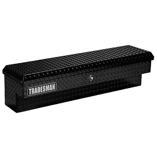 48  inch Side Bin Truck Tool Box, Full or Mid Size Single Lid, Aluminum, Push Button, Black