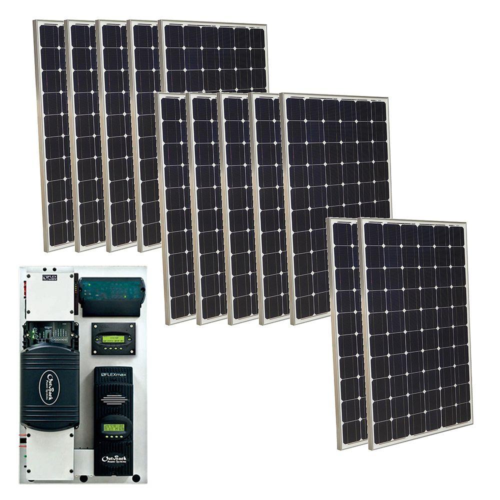 Grape Solar 3,000-Watt Monocrystalline PV Off-Grid Solar Power Kit