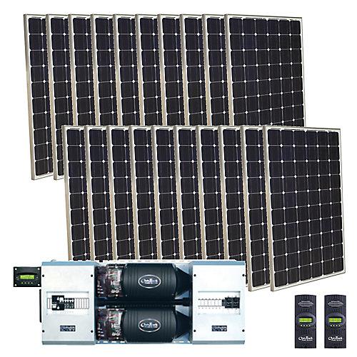 Ensemble solaire autonome photovoltaïque monocristallin 5000 W