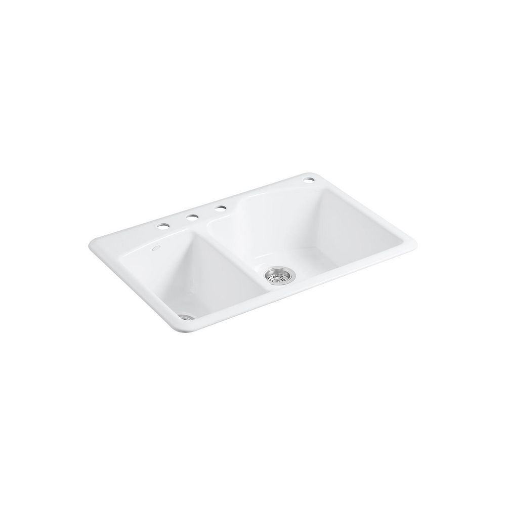 Kohler Wheatland 33 Inch X 22 Inch Top Mount Double Bowl Kitchen Sink In White The Home Depot Canada