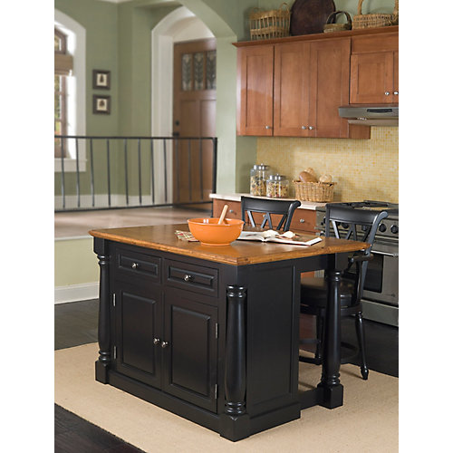Monarch Island With Two Stools - Black