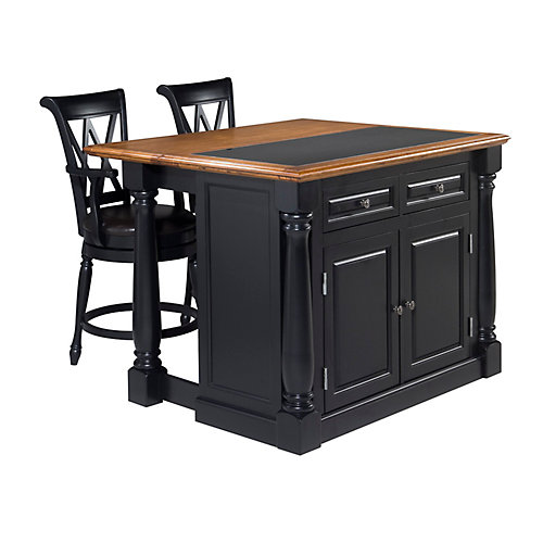 Monarch Island With Granite Top And Two Stools - Black