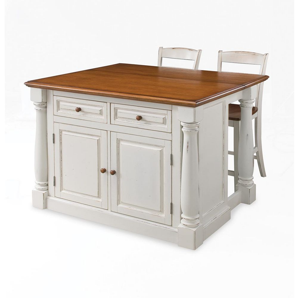 Monarch Island With Two Stools   Antique White