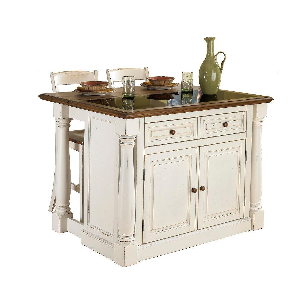 """DMI Furniture Îlot de cuisine """"Monarch"""" dessus granite avec 2 tabourets - blanc antique"""