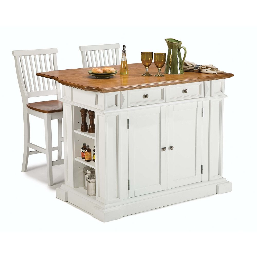 Home Styles Kitchen Island With Two Stools White The Home Depot Canada