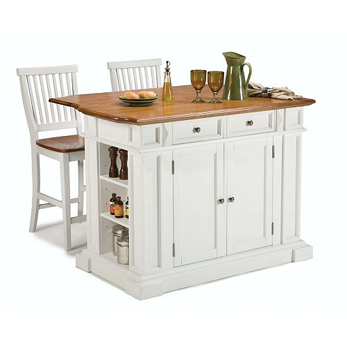 Kitchen Island With Two Stools - White