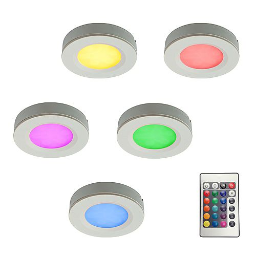 Kit of 5 RGB LED Pucks Light with Plug-In Driver and Remote Controller