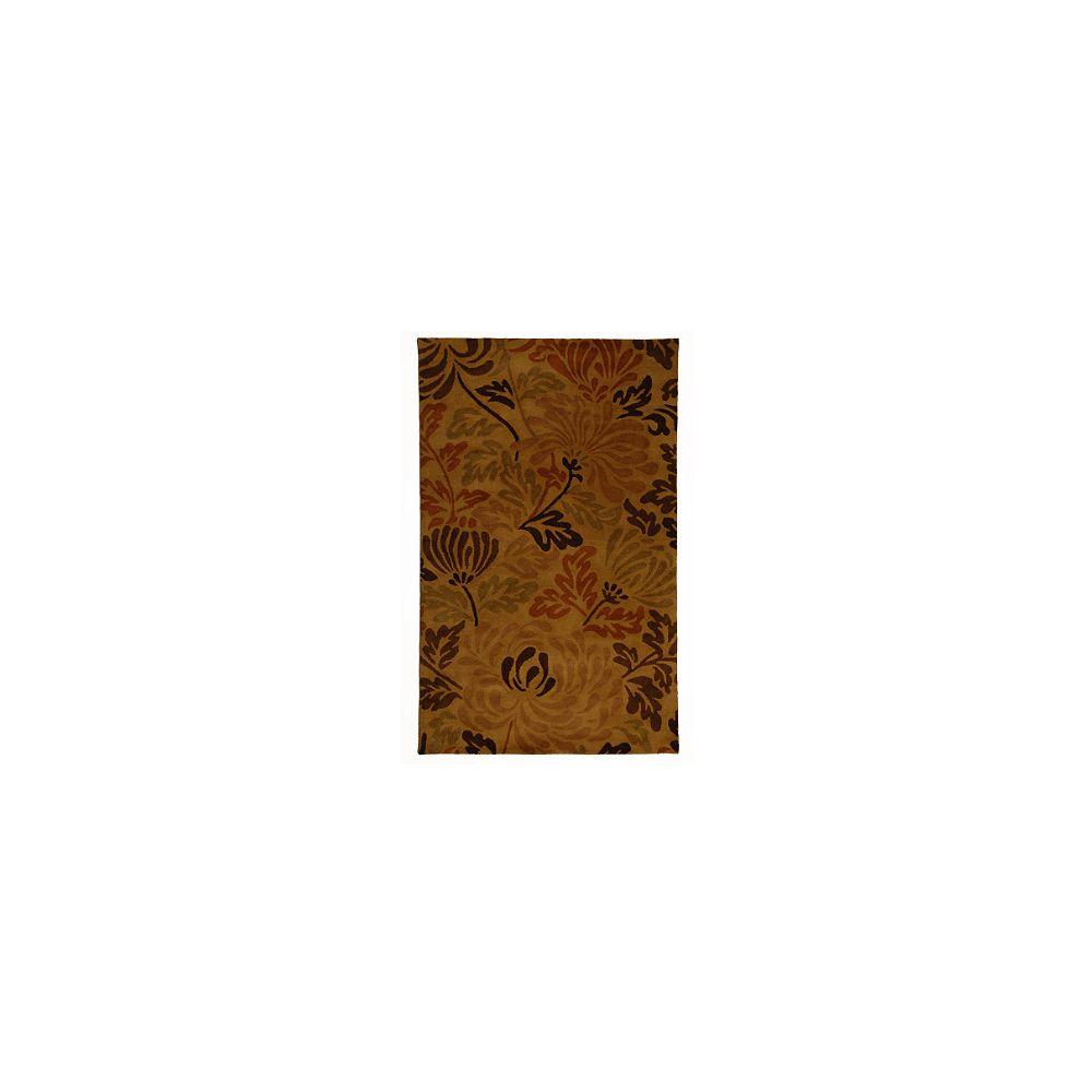 Lanart Rug Carpette d'intérieur, 6 pi x 9 pi, style contemporain, rectangulaire, brun Autumn