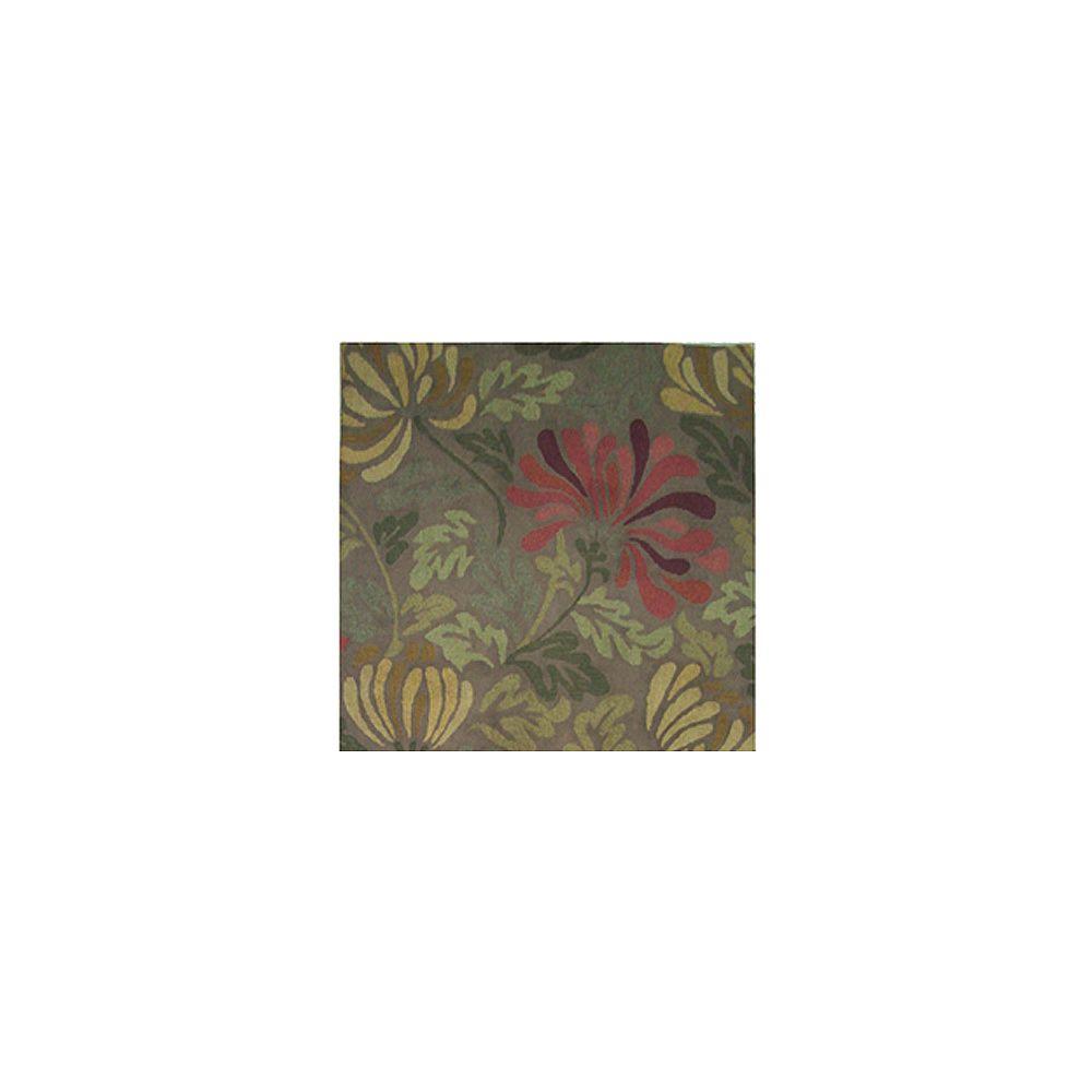 Lanart Rug Carpette, 5 pi x 5 pi, carrée, vert Summer Blossom