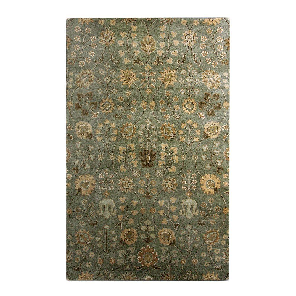 Lanart Rug Carpette d'intérieur, 4 pi x 6 pi, style transitionnel, rectangulaire, vert Summer Provencal