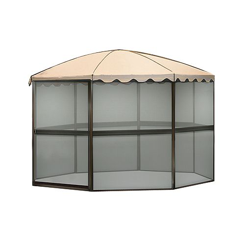 11 ft. Round Screenhouse in Chestnut Brown