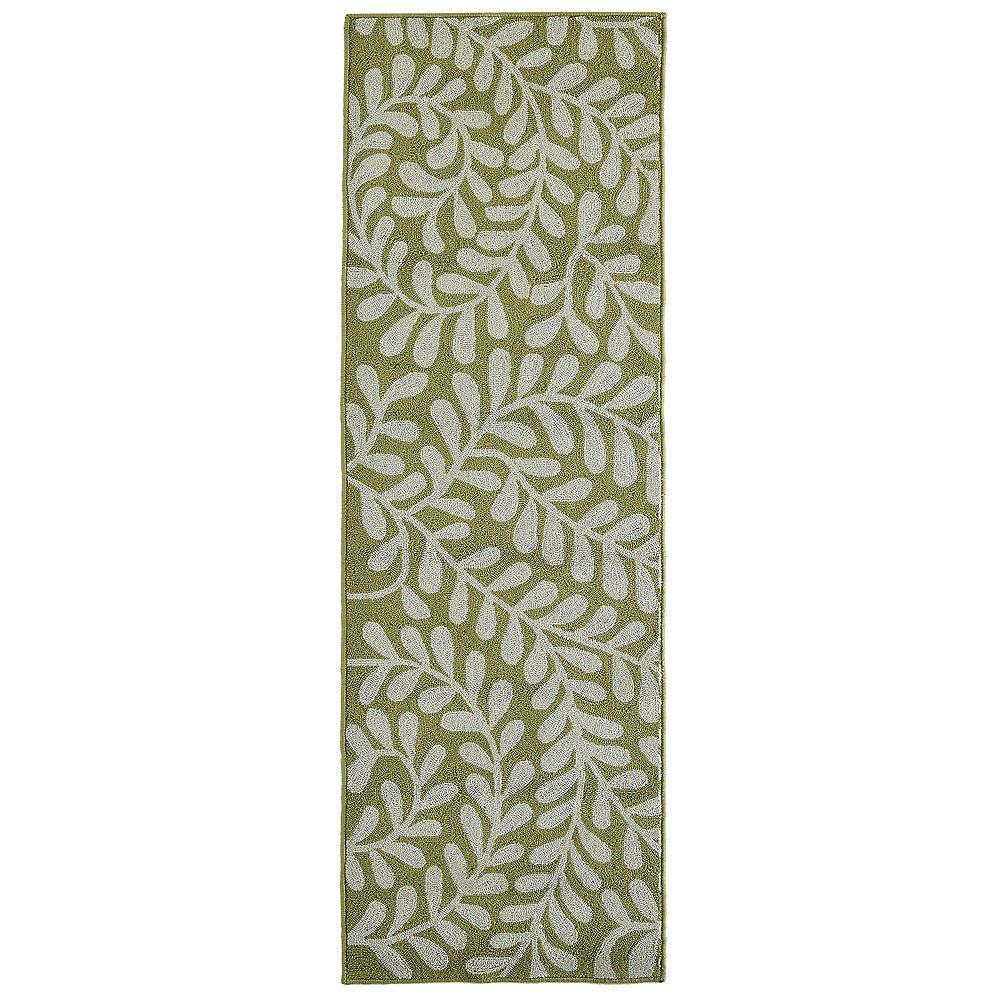 Lanart Rug Tapis de passage d'intérieur, 2 pi 6 po x 8 pi, style transitionnel, vert Fiona