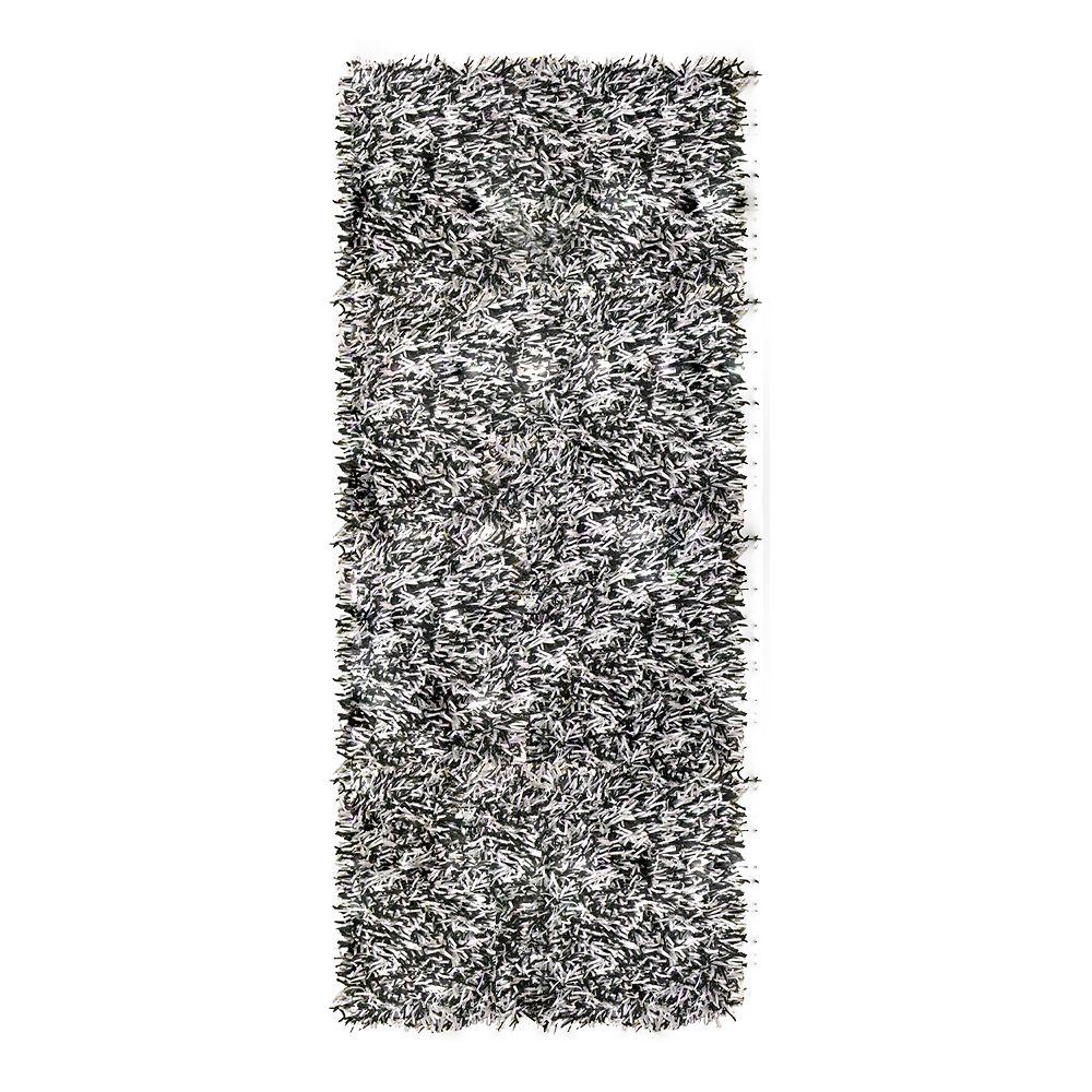 Lanart Rug Tapis de passage d'intérieur, 2 pi 6 po x 8 pi, à poils longs, gris Tuxedo Ribbon