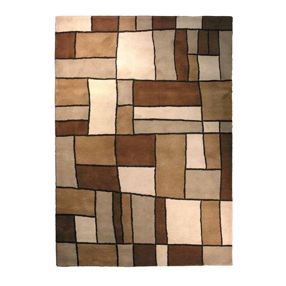 Lanart Rug Carpette d'intérieur, 6 pi x 9 pi, style contemporain, rectangulaire, brun Picasso