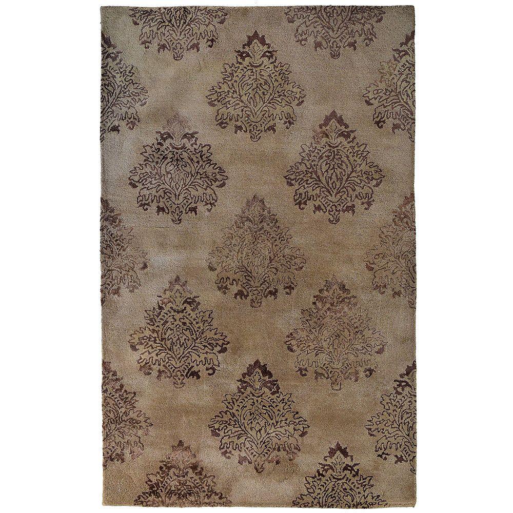 Lanart Rug Carpette d'intérieur, 4 pi x 6 pi, style transitionnel, rectangulaire, brun Taj Mahal