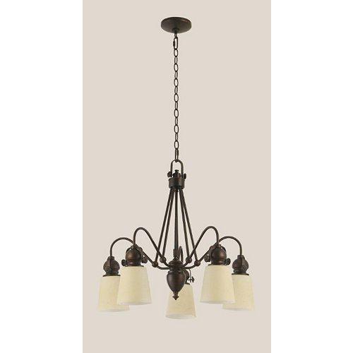Plafonnier 5 lumieres bronze huilé vitre ambre