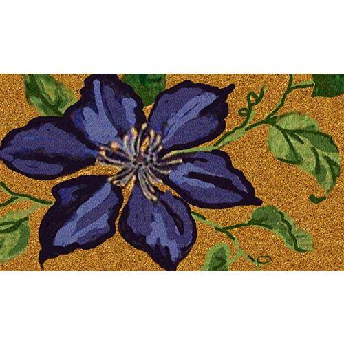 Paillasson d'intérieur/extérieur Fleur bleue, 1 pi 4 po x 2 pi 4 po, rectangulaire, fibre de coco,