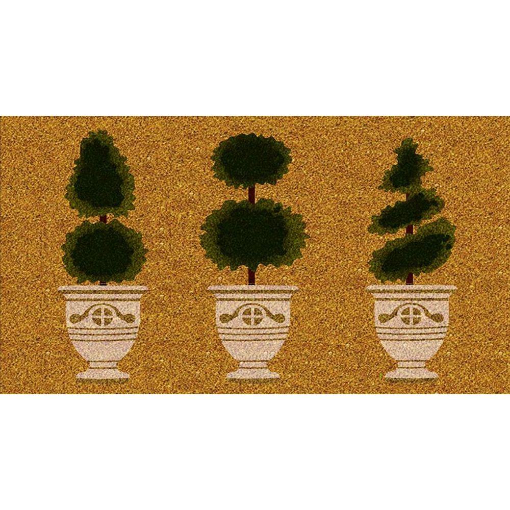 Home Decor Paillasson d'intérieur/extérieur Topiaire, 1 pi 4 po x 2 pi 4 po, rectangulaire, fibre de coco,