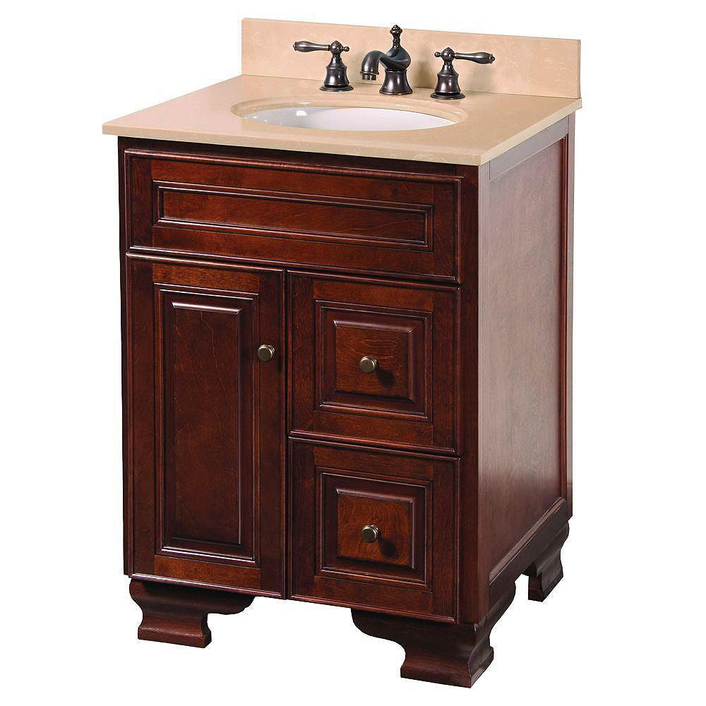 Foremost Hartford 25 Inch Vanity in Walnut with Vanity Top ...