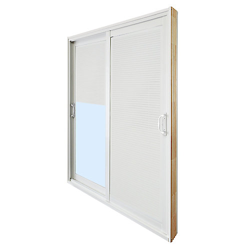 71.75 inch x 79.75 inch Clear LowE Prefinished White Double Sliding Vinyl Patio Door with Internal Mini Blinds - ENERGY STAR®