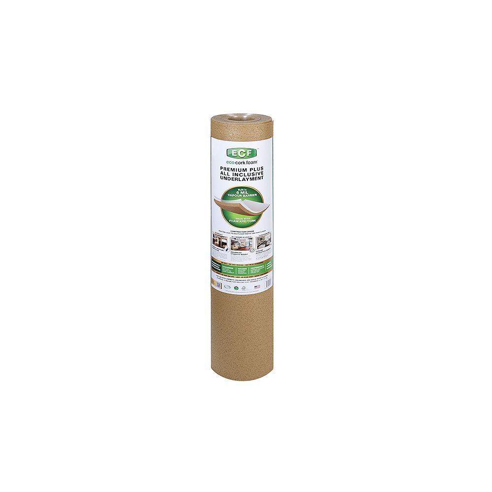 Eco Cork Foam Premium Plus All Inclusive Underlayment With 6mil Vapour Barrier