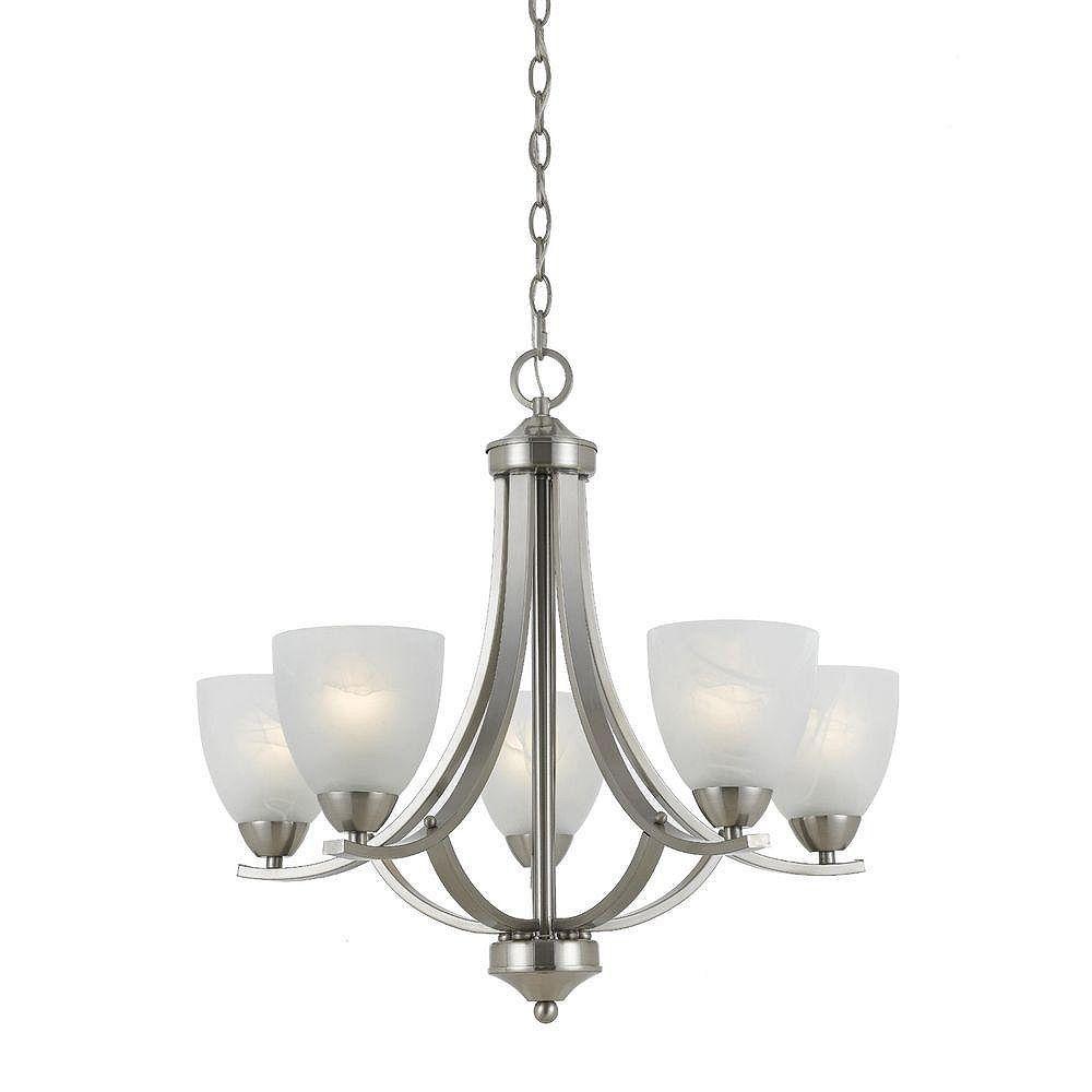 Illumine 3 La lumière DURING Finition Satin Nickel Agiter albâtre blanc en verre Nuances