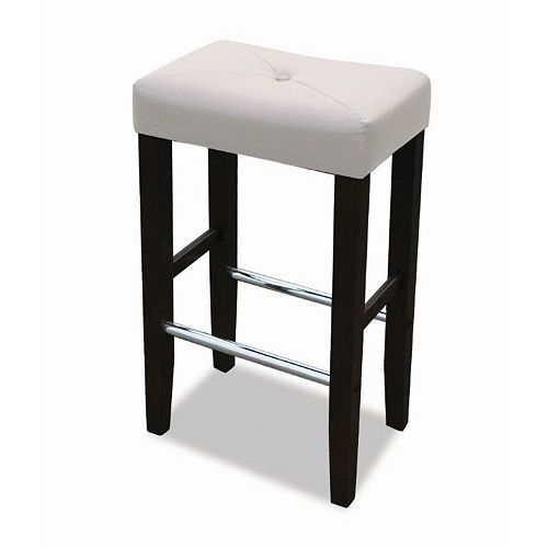 Barcelona Solid Wood Black Full Back Armless Bar Stool with White Leather Seat (Set of 2)