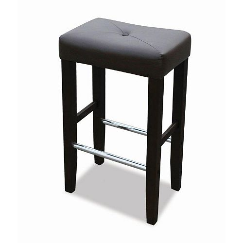 Barcelona Solid Wood and Chrome Backless Armless Bar Stool with Black Upholstered Seat (Set of 2)