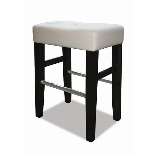 Barcelona Wood Metal Black Backless Armless Bar Stool with White Faux Leather Seat (Set of 2)