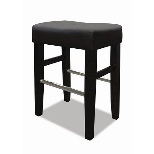 Barcelona Leather Metal Black Backless Armless Bar Stool with Black Faux Leather Seat (Set of 2)
