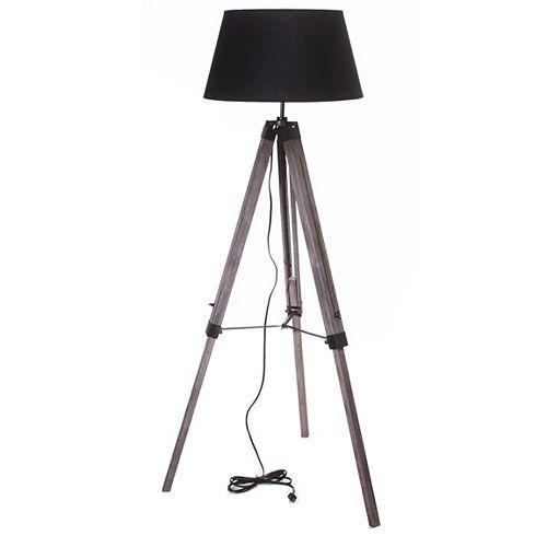 """Lampe De Plancher Trépier 57"""" Vieux Bois Abat-jour Noir"""