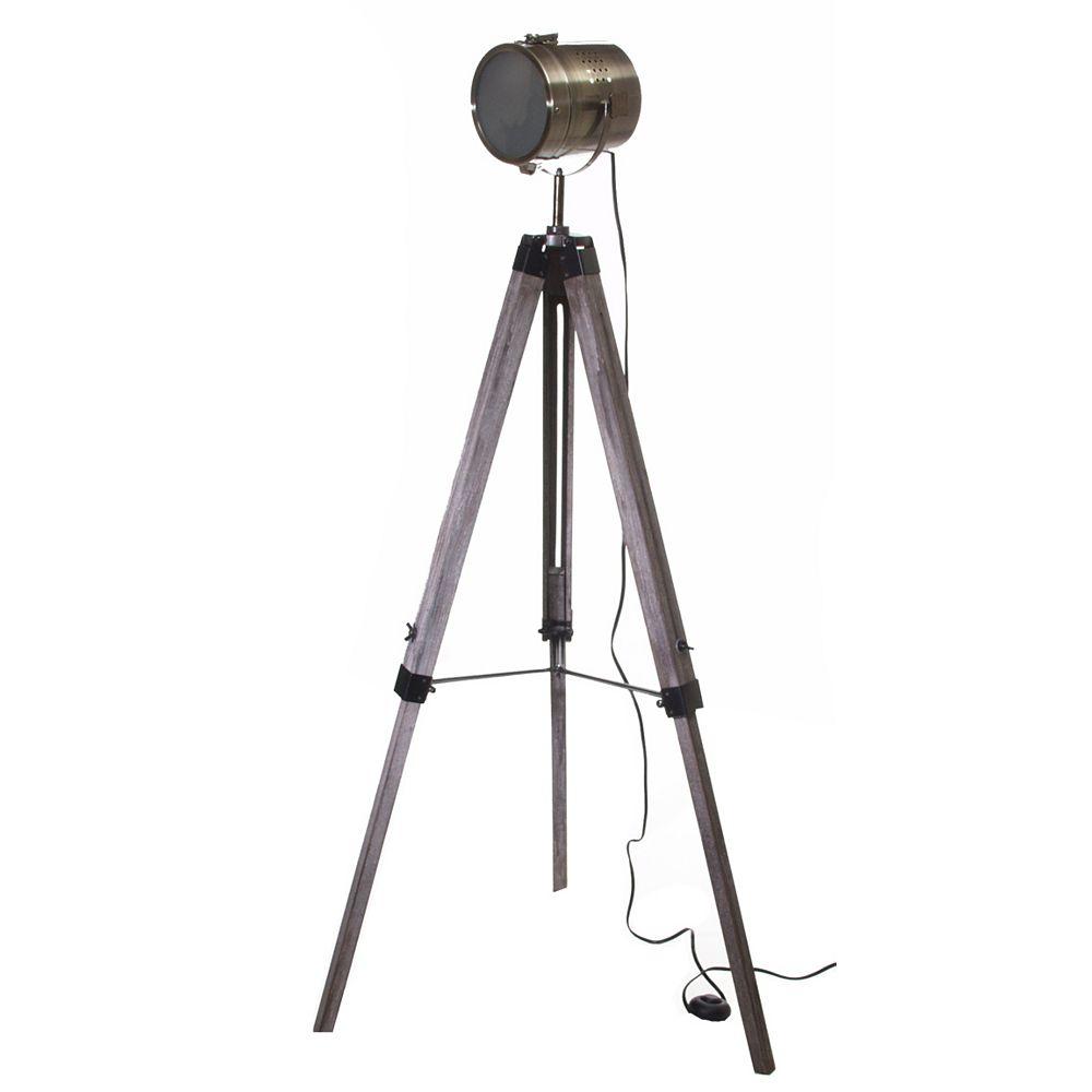 """GEN-Lite Lampe Trépier 47"""" Vieux Bois Bronze Antique Abat-jour Projecteur"""