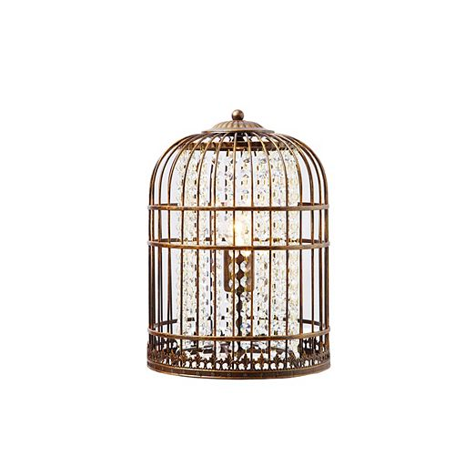 Coffee Brushed Gold Bird Cage Accent Lamp