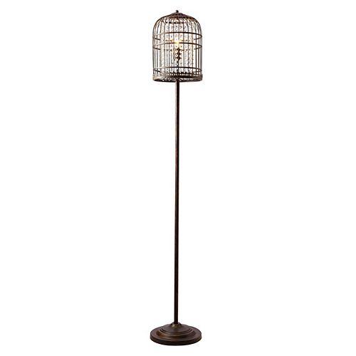 Lampe De Plancher Cage D'oiseau Café Brossé Doré