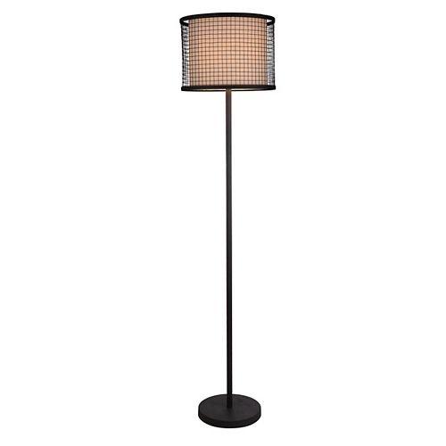 Lampe De Plancher Noir Texturé Abat-jour De Métal & Lin