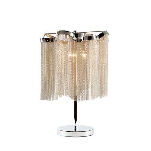 """Lampe De Table 3 Lumières 24-1/2"""" Haut Chrome & Chaine"""