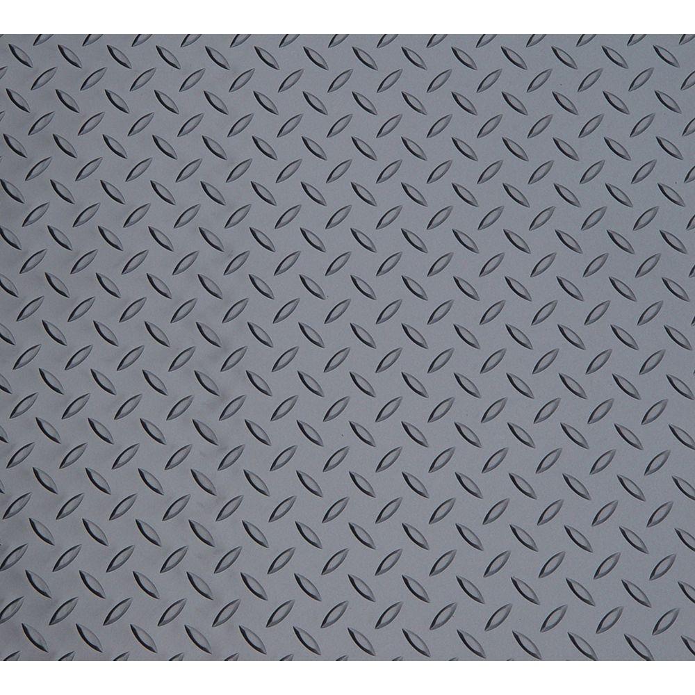 Diamond Deck Plancher en feuilles, vinyle, 5 pi x 22 pi, Diamond Deck carbone métallique