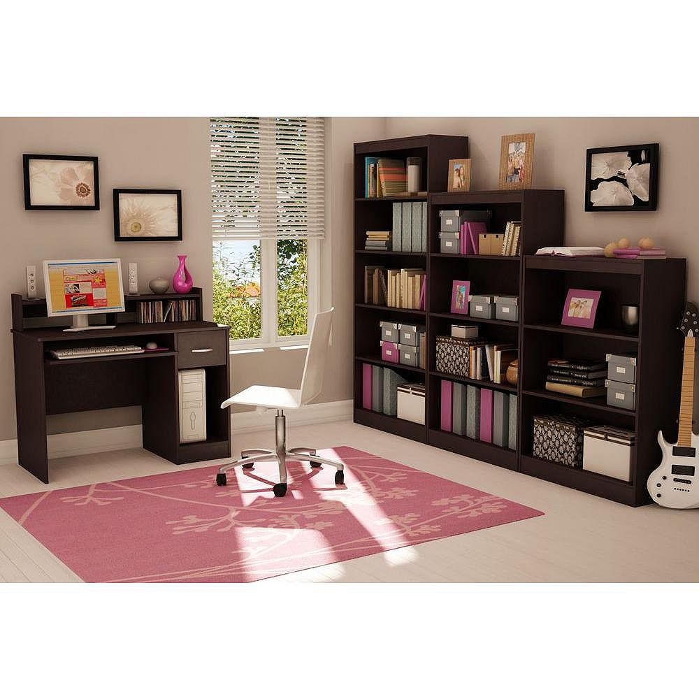 South Shore Bureau d'ordinateur standard, 42po x 36,75po x 20po, marron